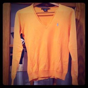 Ralph Lauren pima cotton orange v neck sweater